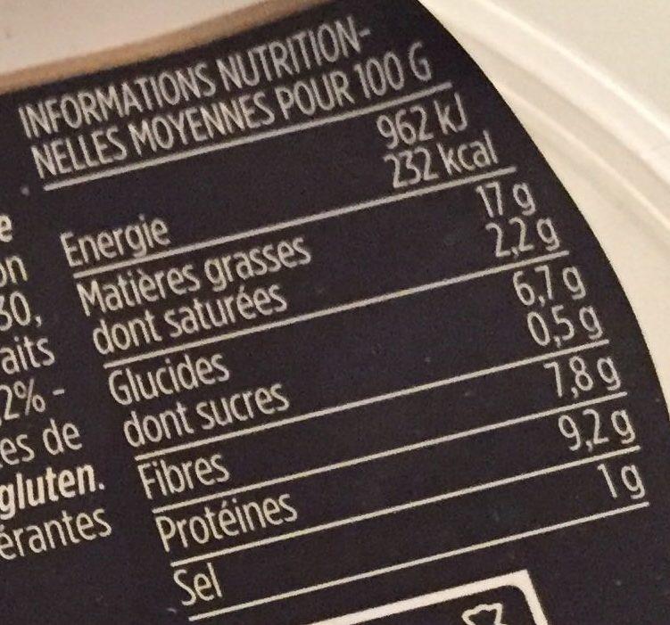 Houmous au sésame et huile d'olive 3,2% - Informations nutritionnelles