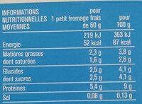 Petits fromages frais nature - Informations nutritionnelles - fr