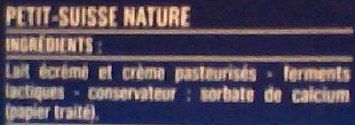 Petits Suisses Nature (10,4 % MG) - (12 pots de 60 g) - Ingrédients
