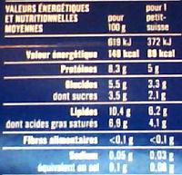 Petits Suisses Nature (10,4 % MG) - (12 pots de 60 g) - Informations nutritionnelles - fr