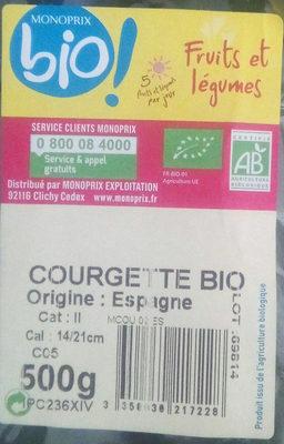 Courgette - Ingrédients