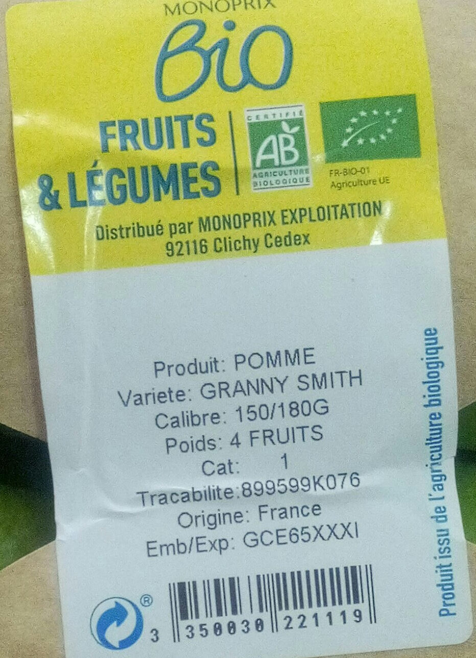 Pomme granny - Ingredients