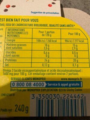 Pavés de saumon bio - Nutrition facts