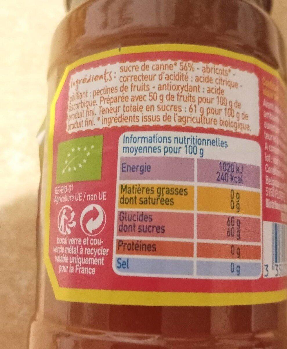 Confiture d'abricot au sucre de canne - Nutrition facts - fr