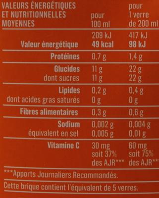 Jus d'orange Monoprix - Informations nutritionnelles