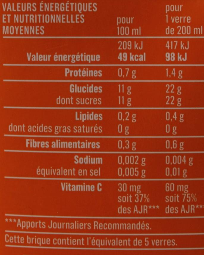 Jus d'orange Monoprix - Nutrition facts - fr