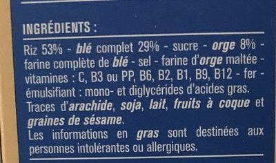 Pétales Riz blé complet & orge - Ingrédients - fr