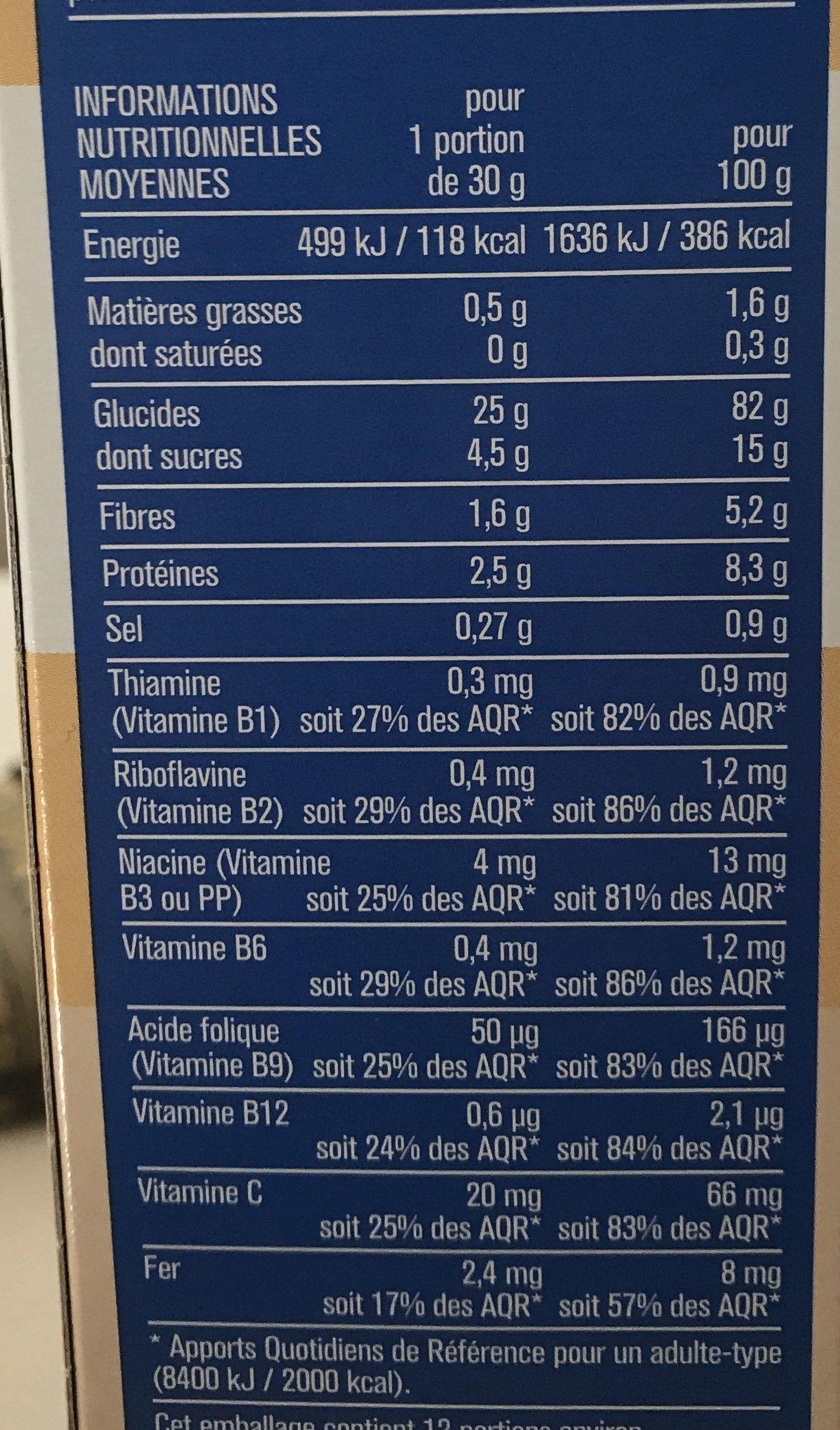 Pétales riz et blé complet Monoprix - Informations nutritionnelles