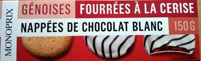 Génoises fourrées à la cerise nappées de chocolat blanc - Produit - fr