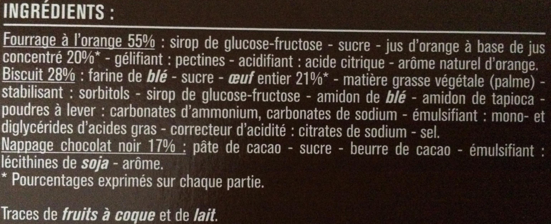 Génoises fourrage à l'orange nappées de chocolat noir - Ingrédients