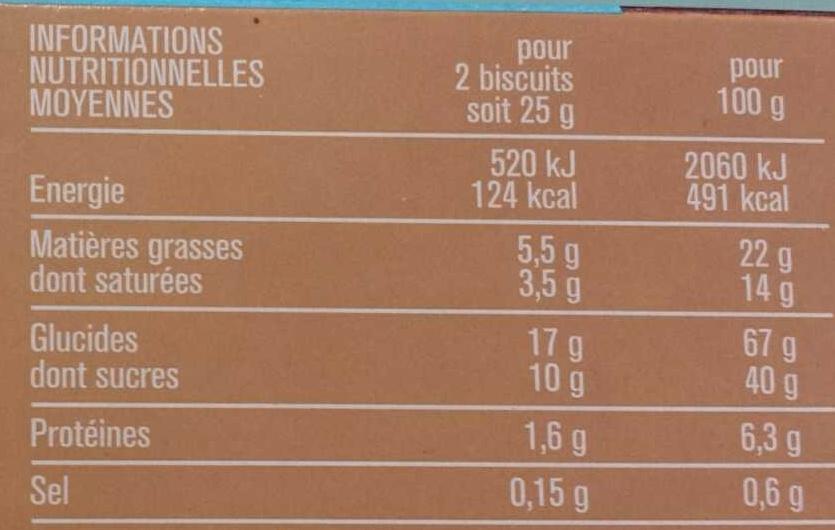 Petits Beurre Croustillant Tablette de Chocolat au Lait - Nährwertangaben - fr