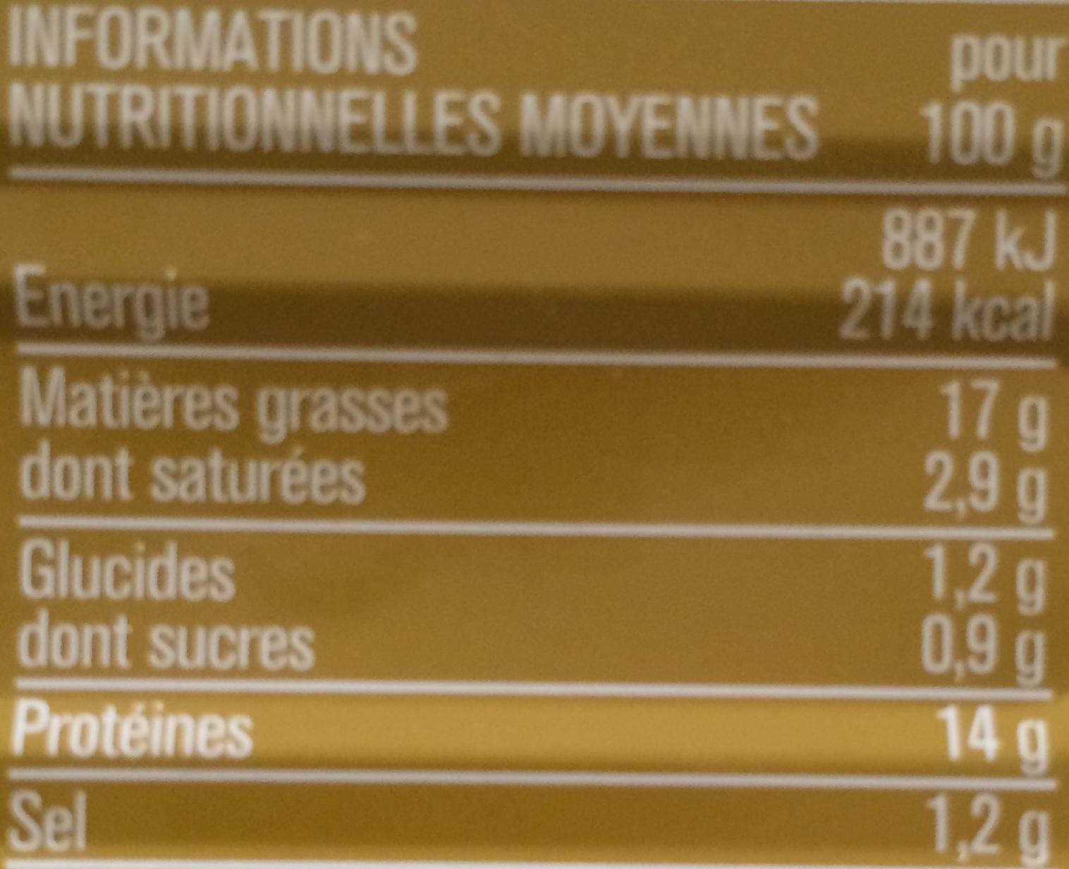 Filet de Maquereaux (Aux Deux Moutardes) - Nutrition facts