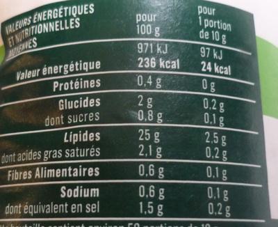 Vinaigrette aux fines herbes 25% MG - Nutrition facts - fr