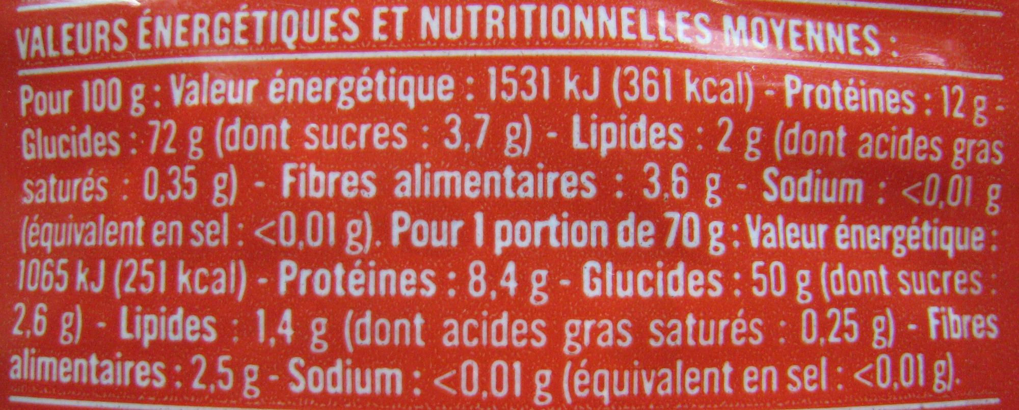 Penne Rigate (Al dente 9 min.) - Informations nutritionnelles
