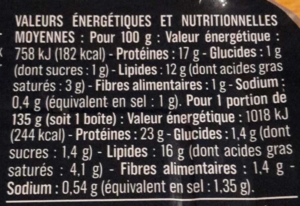 Sardines à la Sauce Tomate - Informations nutritionnelles