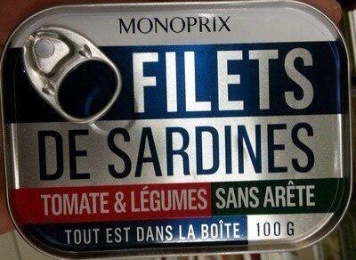 Filets de Sardines (Tomate & Légumes), Sans arête - Product - fr