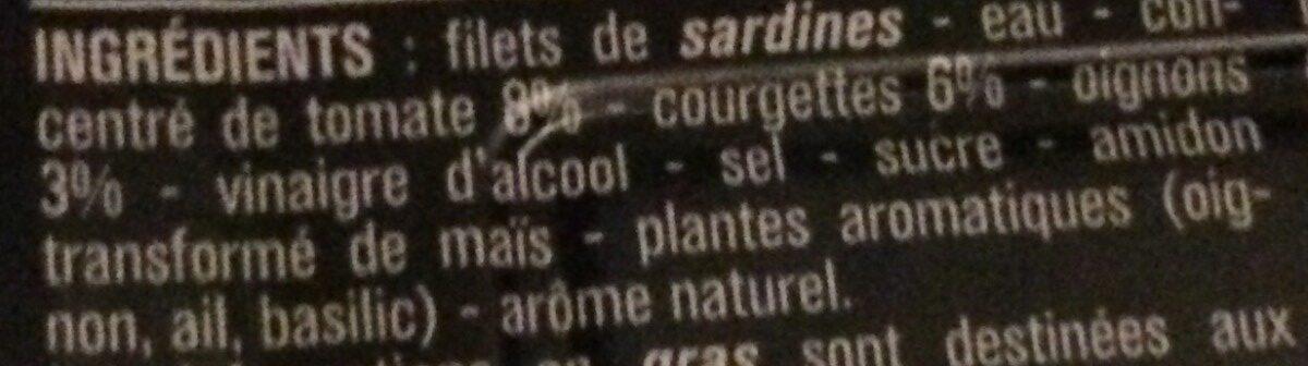 Filets de Sardines (Tomate & Légumes), Sans arête - Ingrediënten - fr