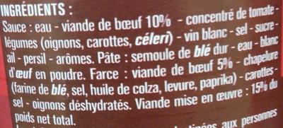 Ravioli Bolognaise au Bœuf - Ingrediënten - fr
