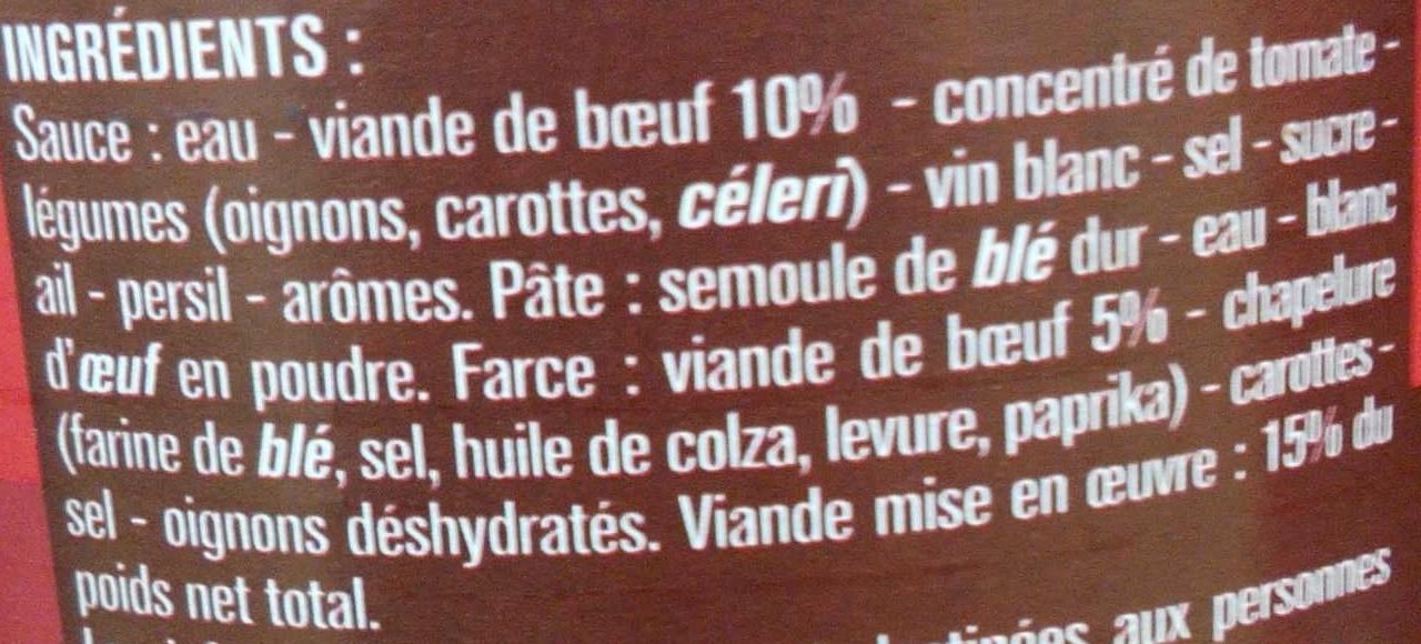Ravioli Bolognaise au Bœuf - Ingrédients