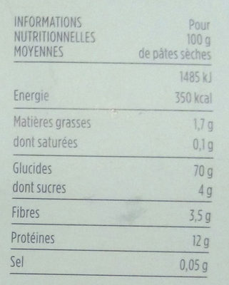 Eliche - Informations nutritionnelles