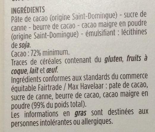 Chocolat noir 72% de cacao Saint-Domingue - Ingredients - fr