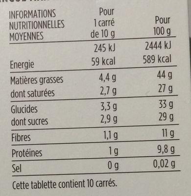 Chocolat noir 72% de cacao Saint-Domingue - Nutrition facts - fr