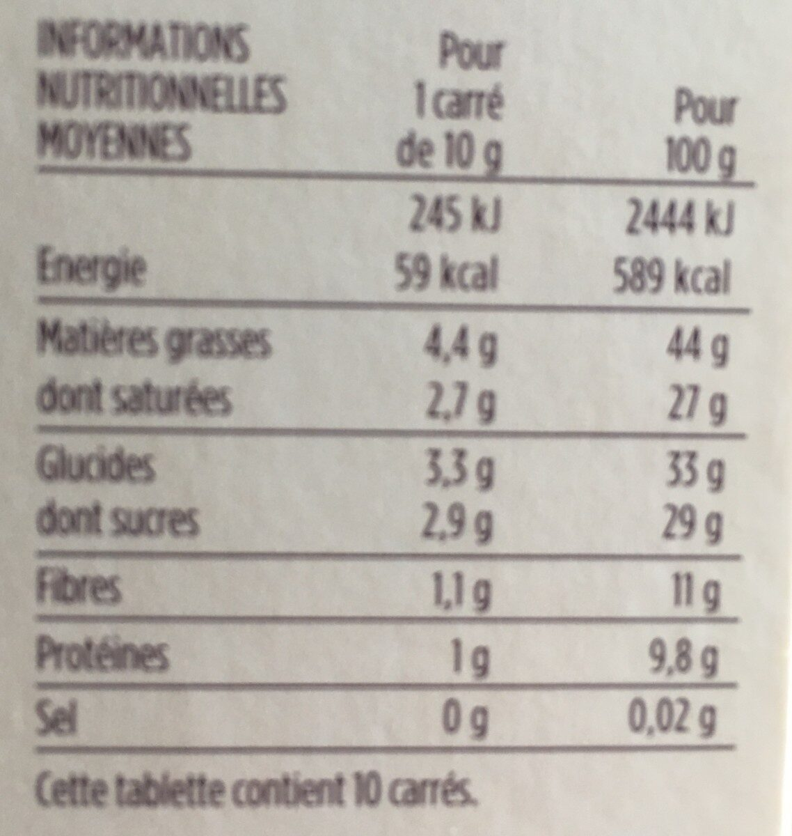 Chocolat noir 72% de cacao Saint-Domingue - 营养成分 - fr