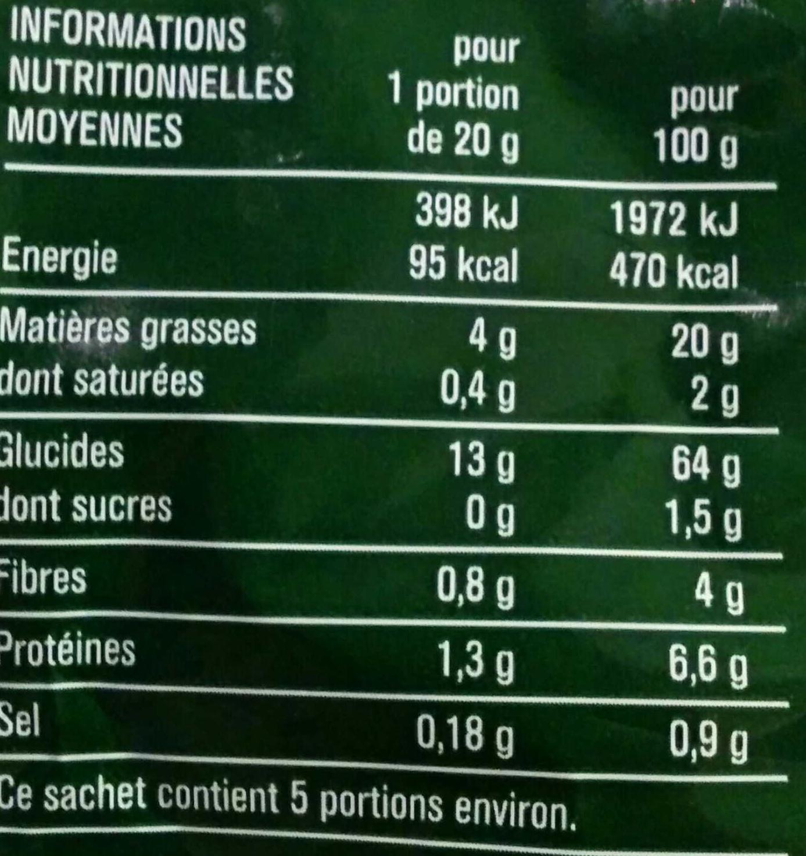 Tortillas chips goût nature - Informations nutritionnelles