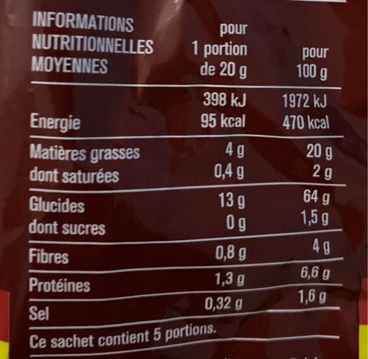 Tortillas Chips goût Chili - Nutrition facts - fr