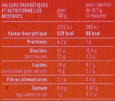 Palmiers feuilletés et dorés - Voedingswaarden - fr