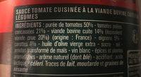 Sauce Tomate Bolognaise - Ingredients - fr