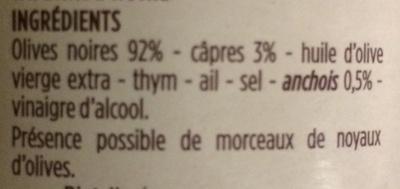 Tapenade noire - Ingredienti