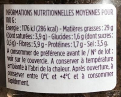 Tapenade noire - Valori nutrizionali