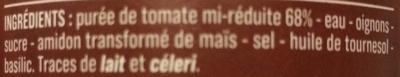 Sauce aux tomates cuisinées - Ingrédients - fr