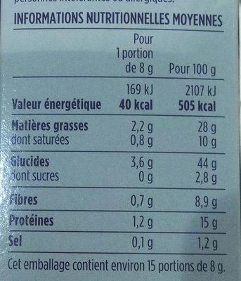 Flûtes fines et croquantes au sésame - Informations nutritionnelles - fr