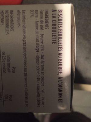 Mini torsades au beurre, oignon et ciboulette - Ingredients