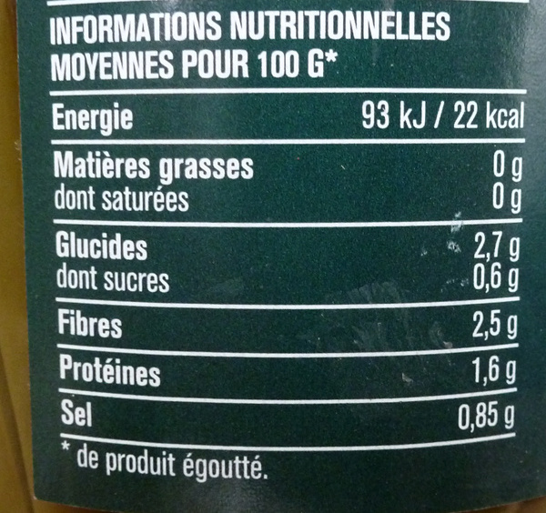 Haricots Verts Extra-Fins 660 g - Informations nutritionnelles - fr