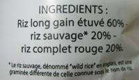 Mélange savoureux 3 riz - Ingredients