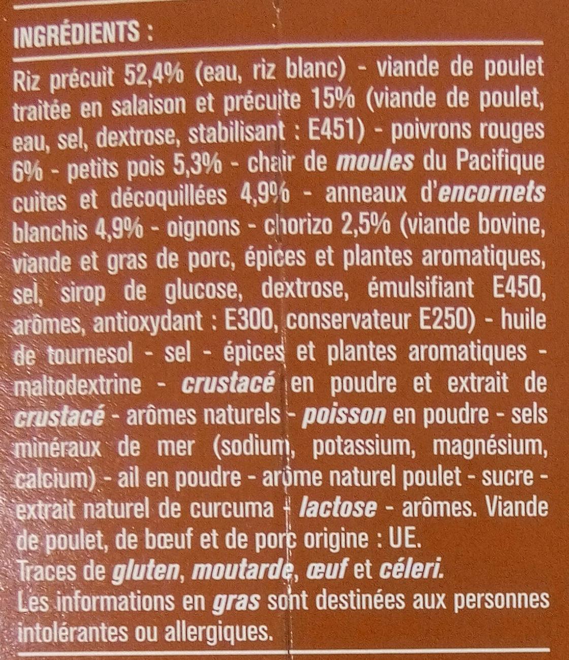Paella au poulet et fruits de mer - Ingrédients - fr