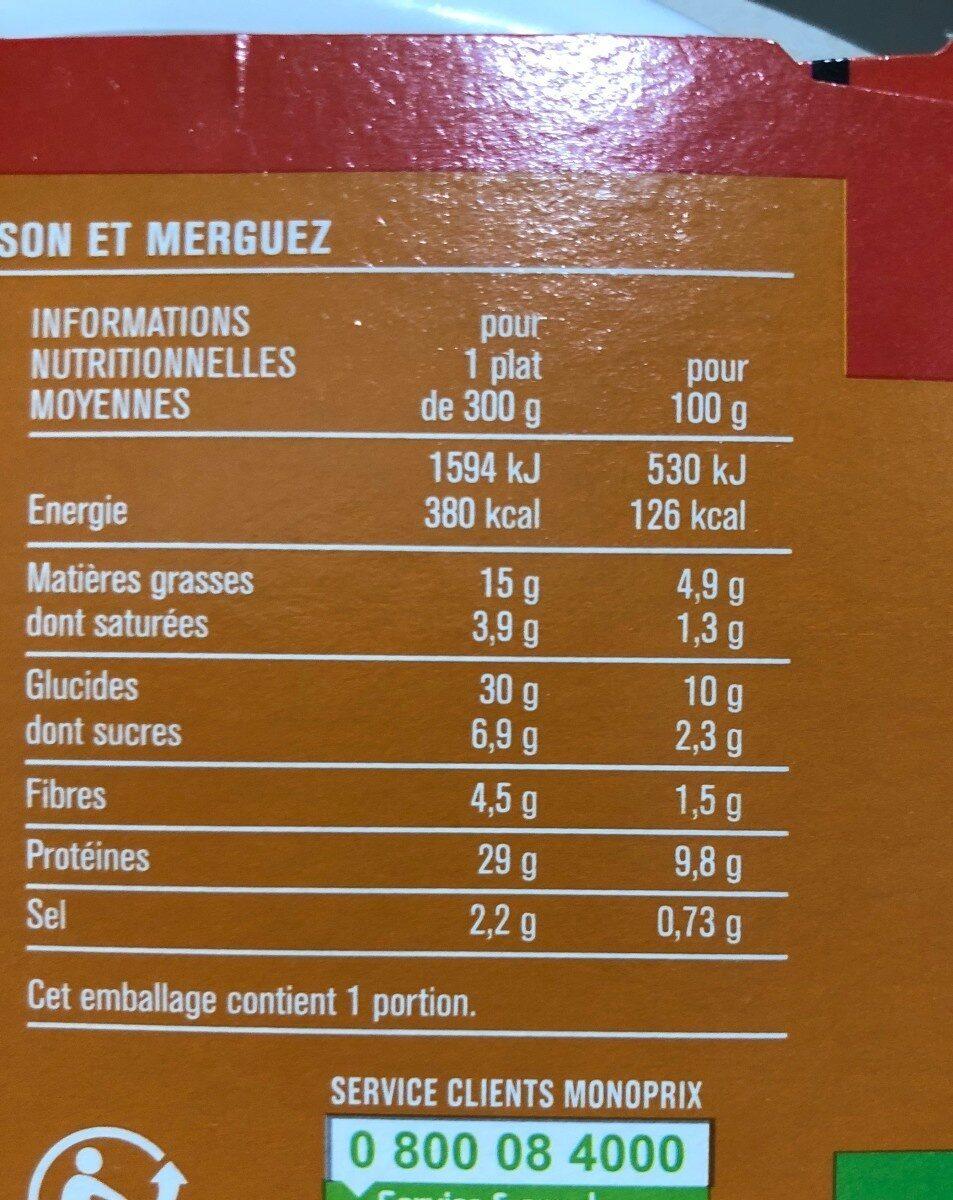 Couscous Royal au poulet et merguez - Informations nutritionnelles - fr