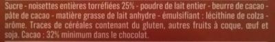 Chocolat au lait noisettes entières - Ingrédients