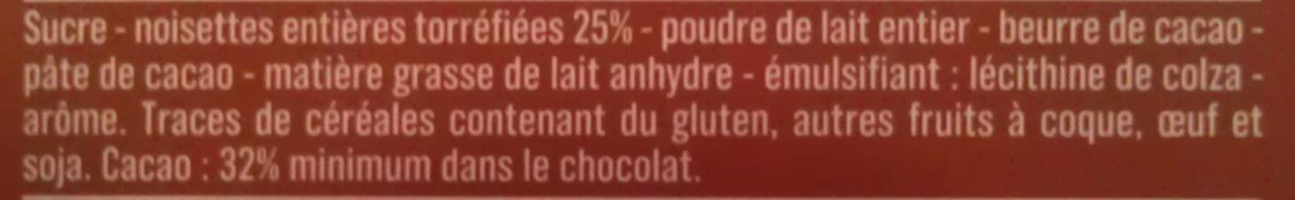 Chocolat au lait noisettes entières - Ingredients - fr