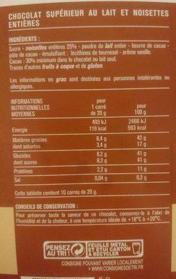 Chocolat au lait noisettes entières - Informations nutritionnelles