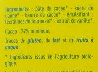 Chocolat Noir 74% bio - Ingrédients - fr