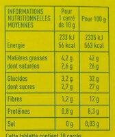 Chocolat Noir 74% bio - Informations nutritionnelles - fr