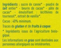 Chocolat Lait - Ingrédients - fr