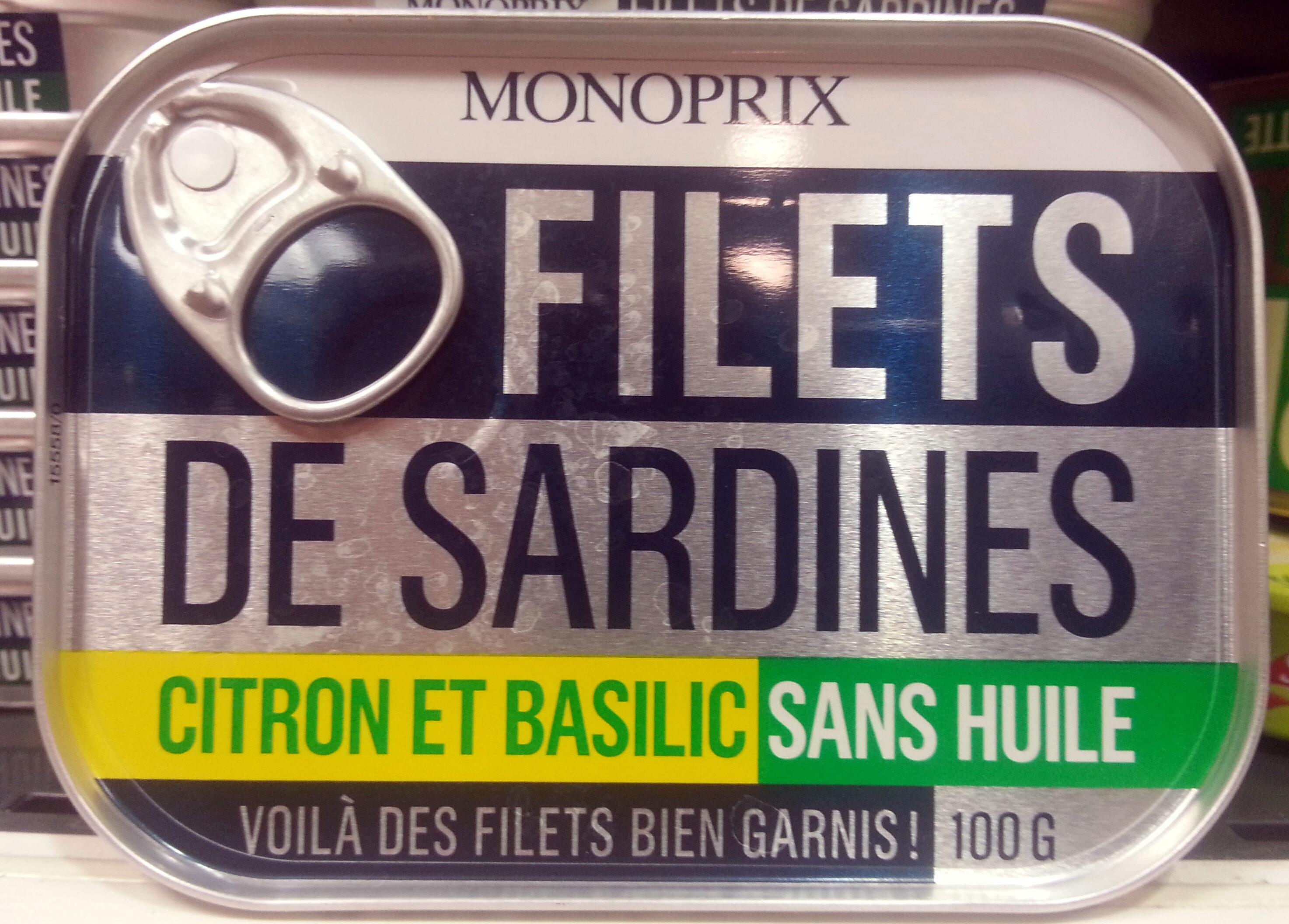 Filets de sardines Citron et basilic - Product - fr