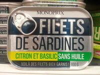 Filets de sardines (citron et basilic, sans huile) - Product - fr
