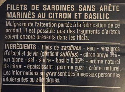 Filets de sardines (citron et basilic, sans huile) - Ingrediënten - fr