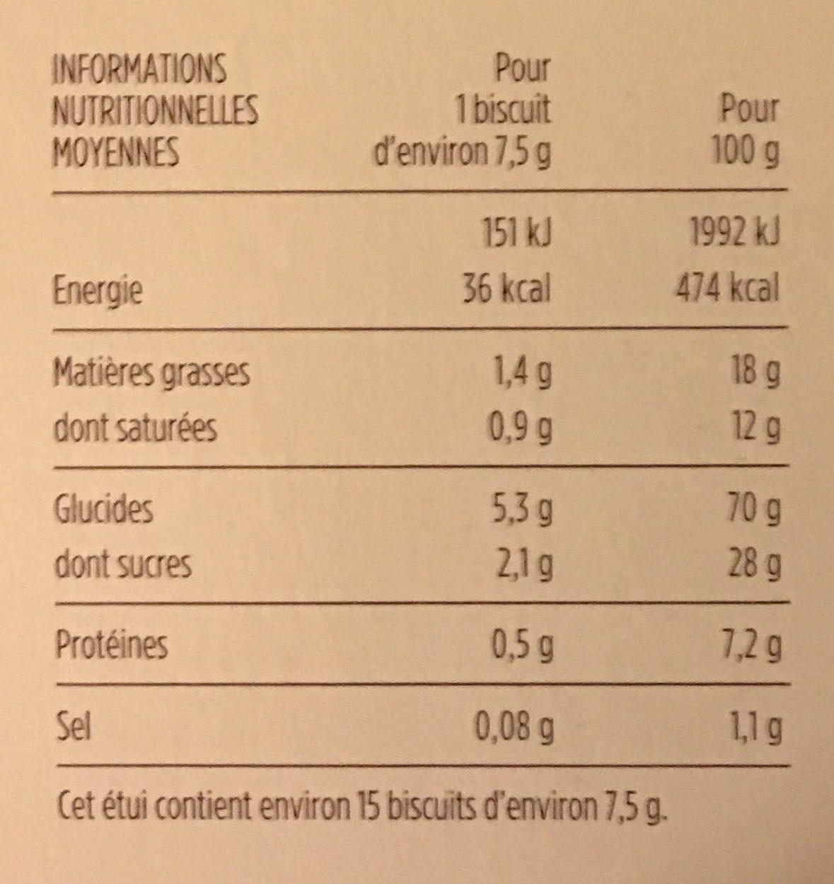 Les palmiers, feuilleté au croustillant intense - Nutrition facts